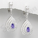 - Cercei argint zirconi albe albastru aspect aur alb nunta - PK1860