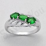 - Inel argint logodna zirconii verzi aspect aur alb - PK2450
