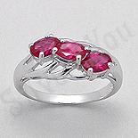 Bijuterii argint de mireasa - Inel argint logodna zirconii rosii aspect aur alb - PK2451