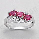 - Inel argint logodna zirconii rosii aspect aur alb - PK2451