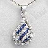 PANDANTIVE - Pandantiv argint zircon alb si albastru picatura aspect aur alb - PK1955