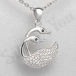 - Pandantiv argint zircon alb lebede aspect aur alb - PK1957