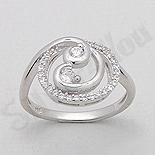 INELE ARGINT - Noutati! - Inel argint logodna spirala zirconii albe aspect aur alb - PK2038