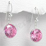 Bijuterii Copii - Cercei argint zirconi roz rotunzi - PK1846