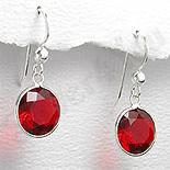 Cercei argint zirconi rosii rotunzi - PK1847
