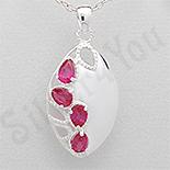 PANDANTIVE - Pandantiv argint oval zirconii rosii lacrima - PK2443