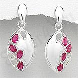 - Cercei argint ovali zirconii rosii lacrima - PK2444