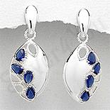 - Cercei argint ovali zirconii albastre lacrima - PK2446