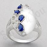 INELE ARGINT - Noutati! - Inel argint oval zirconii albastre lacrima - PK2447