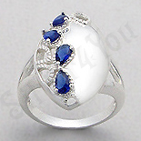 - Inel argint oval zirconii albastre lacrima - PK2447