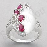 INELE ARGINT - Noutati! - Inel argint oval zirconii rosii lacrima - PK2449