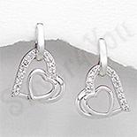 - Cercei argint inima aspect aur alb zirconii albe - PK2384
