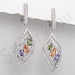 - Cercei argint ovali zirconii mov auriu verde albe - PK2380