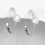 Bijuterii argint de mireasa - Cercei argint mici piatra alba zircon aspect aur alb - PK2466