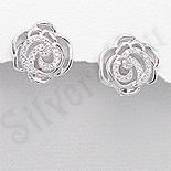 - Cercei argint floare trandafir aspect aur alb zirconii albe - PK2385