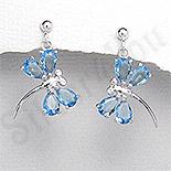 Cercei argint fluturasi zirconii bleu aspect aur alb - PK2509