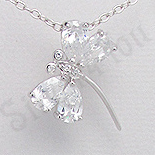 Bijuterii Copii - Pandantiv argint fluturas zirconii albe aspect aur alb - PK2517