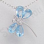 Bijuterii Copii - Pandantiv argint fluturas zirconii bleu aspect aur alb - PK2514
