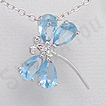 Pandantiv argint fluturas zirconii bleu aspect aur alb - PK2514