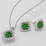 Cadouri Femei 1-8 Martie - Set argint cercei-pandant zircon verde si alb aspect aur alb - PK2070