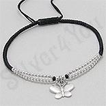 BRATARI - Bratara neagra siret fluture si margele argint - PK2543