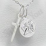 Bijuterii Copii - Pandantiv argint cruce si ingeras - PF4062