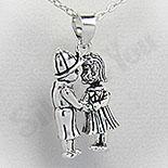 Bijuterii argint de mireasa - Pandantiv argint indragostiti - PF4070