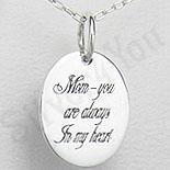Bijuterii Copii - Pandantiv argint oval cu mesaj pentru mama - PK1254