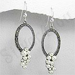 Bijuterii argint cu perle - Cercei argint ovali cu marcasite - PK1159