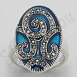 Bijuterii argint cu marcasit - Inel argint marcasit model albastru - PK1290