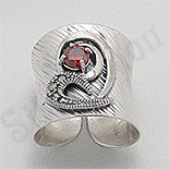 Bijuterii argint cu marcasit - Inel argint lung marcasite piatra rosie zircon - PK2459