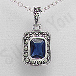 Bijuterii argint cu marcasit - Pandantiv argint albastru dreptunghiular marcasite zirconiu - PK2361