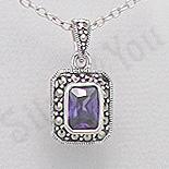 Bijuterii argint cu marcasit - Pandantiv argint mov dreptunghiular marcasite zirconiu - PK2362