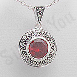 Bijuterii argint cu marcasit - Pandantiv argint rosu rotund marcasite zirconii - PK2356