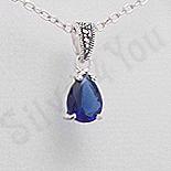 Bijuterii argint cu marcasit - Pandantiv argint albastru lacrima marcasite zirconiu - PK2358