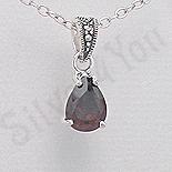 Bijuterii argint cu marcasit - Pandantiv argint rosu lacrima marcasite zirconiu - PK2360