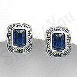 Bijuterii argint cu marcasit - Cercei argint albastri dreptunghiulari marcasite zirconii - PK2349