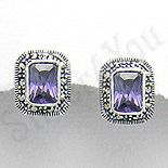 Bijuterii argint cu marcasit - Cercei argint mov dreptunghiulari marcasite zirconii - PK2350