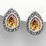 Bijuterii argint cu marcasit - Cercei argint aurii lacrima marcasite zirconii - PK2353