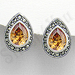 Cercei argint aurii lacrima marcasite zirconii - PK2353
