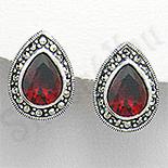 Bijuterii argint cu marcasit - Cercei argint rosii lacrima marcasite zirconii - PK2354