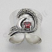 Bijuterii argint cu marcasit - Inel argint lung marcasite piatra rosie zircon - PK2460
