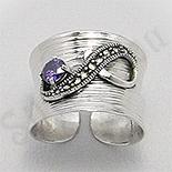 Bijuterii argint cu marcasit - Inel argint marcasite piatra mov zircon reglabil - PK2462