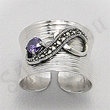 - Inel argint marcasite piatra mov zircon reglabil - PK2462