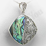 Bijuterii argint cu abalone - Pandantiv argint abalone si marcasit - PK2212