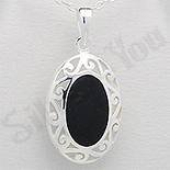 PANDANTIVE - Pandantiv argint oval negru - PK1986