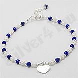 BRATARI - Bratara argint cu inima, perle albe si lapis lazuli - PK2408