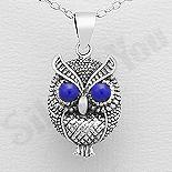 Bijuterii cu Mesaj - Pandantiv argint bufnita cu ochii turcoaz regal - AS201