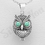Bijuterii cu Mesaj - Pandantiv argint bufnita cu ochii turcoaz verde - AS200