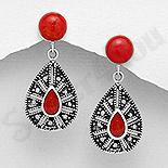 CERCEI - Cercei argint cu piatra rosie - AS214